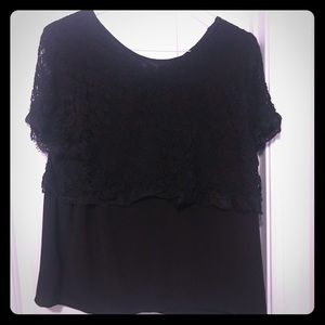 Lace detail black top
